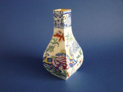 Unusual Mason's Patent Ironstone China 'Blue Pheasant' Vase c1880
